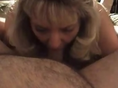 Older blonde wife blows fat hubby