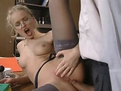 Glassed Anal Slut Dora Venter Acquires Screwed and Facialized In The Office