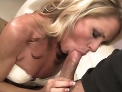 Admirable looking skinny blonde MILF Nikki Charm takes sturdy shlong in her mouth. But after shlong engulfing this babe uses her tongue to give joy to her fuck buddy. That babe licks his backdoor and that man likes it so much.