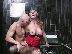 Nice-looking blond MILF Tanya Tate likes having her delicious, hairless cunt smashed hard in a public bathroom