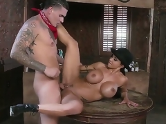 Busty milf Jewels Jade enjoys youthful hunk Clover fucking her tight bawdy cleft