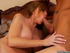 The voluptuous milf Darla Crane with a beautiful natural love melons makes the deepthroating for her son Billy Hart, then he professionally licks her sexy love tunnel and they fuck very passionately.