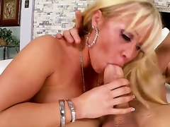 Arousing wang loving blonde milf Austin Taylor with large jaw dropping round ass and whorish enormous make up seduces tattoos chap and rides on his wang like there is no tomorrow.
