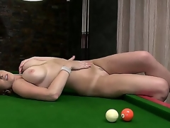 Horny and aroused brunette hair milf LaTaya Roxx with large honkers enjoys in spreading her legs and playing with some pool balls ont this chab pool table in front of the webcam