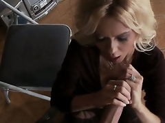 Clothed blonde milf Barbi Sinclair is playing with enormous huge piece of meat of Keiran Lee. That babe stands on knees sucking and wanking his large palpitating schlong so well.
