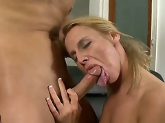 Young gracious stud Kris Slater gets his unyielding meaty knob sucked valuable by experienced lusty blonde milf Taylor Jo with constricted hawt booty and natural bumpers in living room act