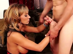 Concupiscent and tattooed dude Chris Johnnson receives his hard and big 10-Pounder sucked by a pleasant golden-haired milf with big honkers Nikki Sexx on her knees in her living room and ejoys