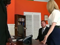 Great interracial sex with Nathan Threat and Nina Hartley. This aged woman looks sexy as she sits on an office desk and, widens her panties open and shows of her constricted hole as her dude gets down on his knees before them.