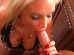 Hot and lusty golden haired milf in taut dress Diamond Foxxx gives her neighbor Lucius Young a sexy and sensual oral pleasure on her knees and lets him cum on her breasts