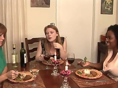 This dinner that MILF porn star Darla Crane is throwing for her youthful kitty friends Alia Starr and Madison Juvenile looks sinless from the start but It will pretty soon get nasty!