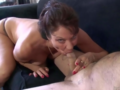 Lustful old floozy Vanessa Videl gives oral-stimulation topless. Mature chap gets sucked off by hawt experienced woman before she takes off her strap pants and gets her slit tongue fucked in 69 position