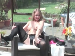 Hot dark pants and nylons on golden-haired mom