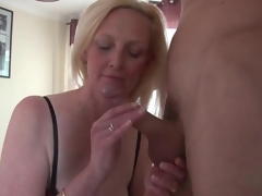 Beautiful large tits blonde mature sucks dick