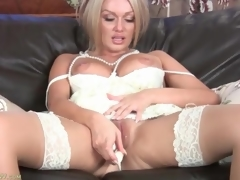 Milf Amber Jayne masturbates in white dress