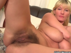 Soccer moms with big tits and hirsute pussy masturbate