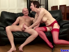 English older in red nylons drilled