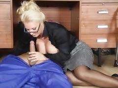 Lana Coxx office milf sucking pecker