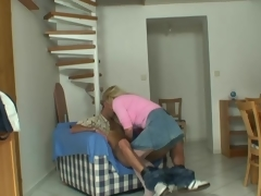 Mature blonde jumps onto big meat
