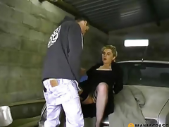 Bonks bitch in his garage