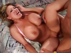 Girl with large boobs doing oral job peasant
