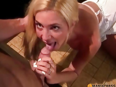 A boy pushes her fur pie blond