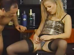 Golden-Haired in nylons drilled by a fellow on a chair