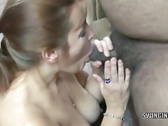 Curvy redhead mother I'd like to fuck Liisa is swallowing 2 inflexible jocks