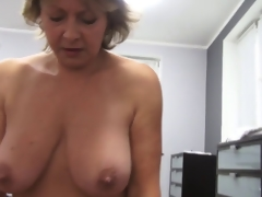 Czech mature POV 53yo oral fuck and cumming on big boobs