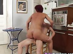 Mature redheaded milf sucks dick after fucking juvenile stud