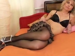 She loves to wear nylons and tease