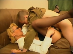 Horny milf teasing younger fellow with her skills in cock-sucking and riding