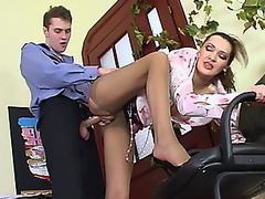Lusty aged beauty in control top tights luring policeman into fucking frenzy