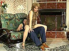 Sexually excited mamma in silky hose giving legjob burning with want for hard drilling